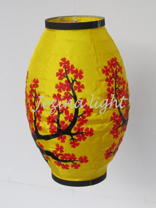 lampion oval warna kuning motif bunga sakura kertas jakarta