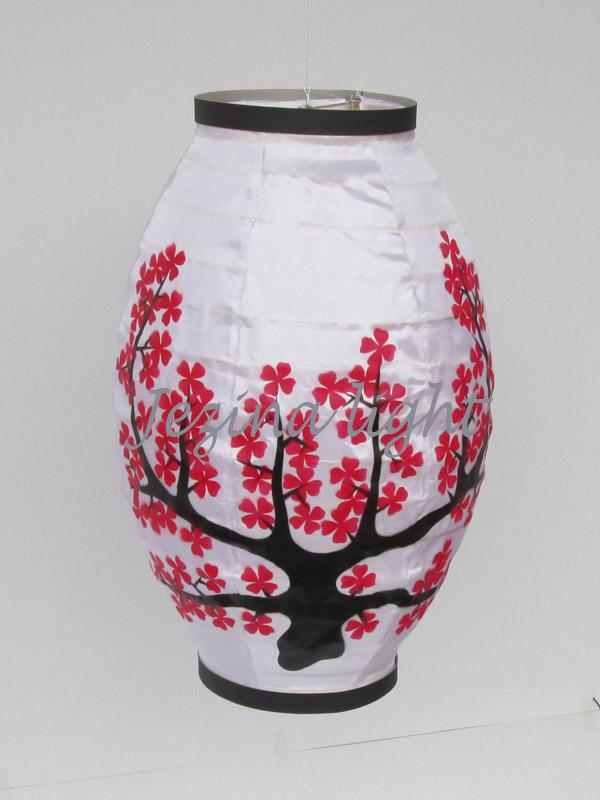 lampion oval warna Putih dengan Motif Bunga sakura bahan kain dan kertas